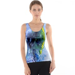 Bright Yellow And Blue Abstract Tank Tops