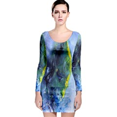 Bright Yellow and Blue Abstract Long Sleeve Bodycon Dresses