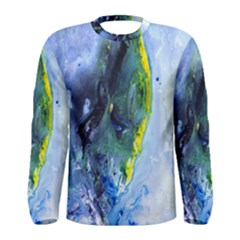 Bright Yellow and Blue Abstract Men s Long Sleeve T-shirts