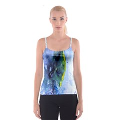 Bright Yellow and Blue Abstract Spaghetti Strap Tops