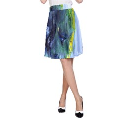 Bright Yellow and Blue Abstract A-Line Skirts