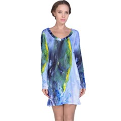 Bright Yellow and Blue Abstract Long Sleeve Nightdresses