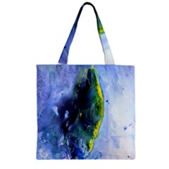 Bright Yellow and Blue Abstract Zipper Grocery Tote Bags