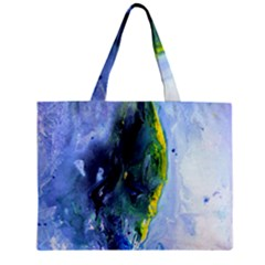 Bright Yellow And Blue Abstract Zipper Tiny Tote Bags