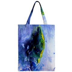 Bright Yellow And Blue Abstract Zipper Classic Tote Bags