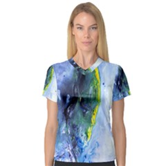 Bright Yellow And Blue Abstract Women s V Neck Sport Mesh Tee