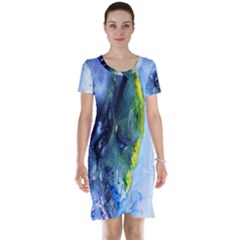 Bright Yellow and Blue Abstract Short Sleeve Nightdresses