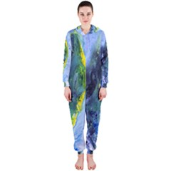 Bright Yellow And Blue Abstract Hooded Jumpsuit (ladies)