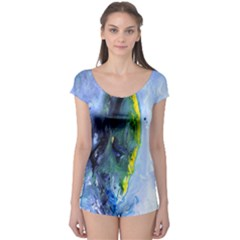 Bright Yellow and Blue Abstract Short Sleeve Leotard