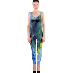 Bright Yellow and Blue Abstract OnePiece Catsuits