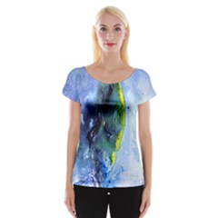 Bright Yellow And Blue Abstract Women s Cap Sleeve Top
