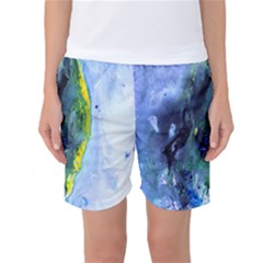 Bright Yellow and Blue Abstract Women s Basketball Shorts