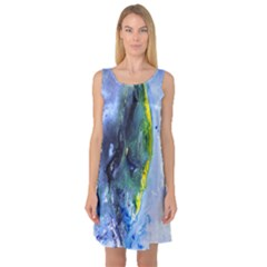 Bright Yellow And Blue Abstract Sleeveless Satin Nightdresses