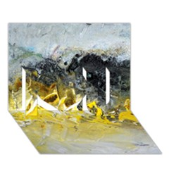 Bright Yellow Abstract I Love You 3D Greeting Card (7x5)