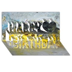 Bright Yellow Abstract Happy Birthday 3D Greeting Card (8x4)