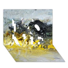 Bright Yellow Abstract LOVE 3D Greeting Card (7x5)