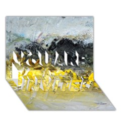 Bright Yellow Abstract YOU ARE INVITED 3D Greeting Card (7x5)