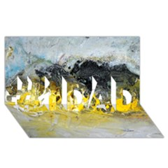Bright Yellow Abstract #1 Dad 3d Greeting Card (8x4)