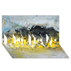 Bright Yellow Abstract Believe 3d Greeting Card (8x4)