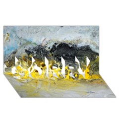 Bright Yellow Abstract Sorry 3d Greeting Card (8x4)