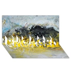 Bright Yellow Abstract ENGAGED 3D Greeting Card (8x4)