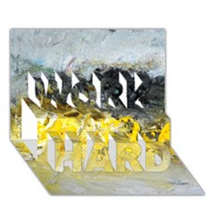 Bright Yellow Abstract Work Hard 3d Greeting Card (7x5)