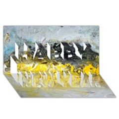 Bright Yellow Abstract Happy New Year 3D Greeting Card (8x4)