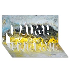 Bright Yellow Abstract Laugh Live Love 3D Greeting Card (8x4)