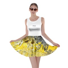 Bright Yellow Abstract Skater Dresses