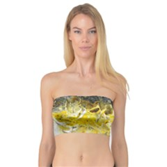 Bright Yellow Abstract Women s Bandeau Tops