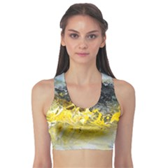 Bright Yellow Abstract Sports Bra