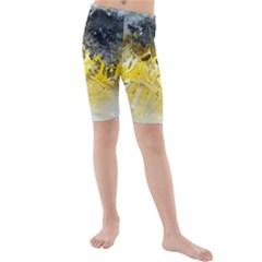 Bright Yellow Abstract Kid s swimwear