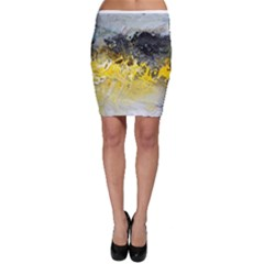 Bright Yellow Abstract Bodycon Skirts