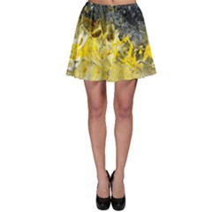 Bright Yellow Abstract Skater Skirts