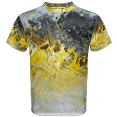 Bright Yellow Abstract Men s Cotton Tees