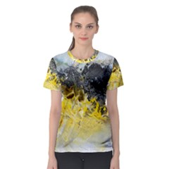 Bright Yellow Abstract Women s Sport Mesh Tees
