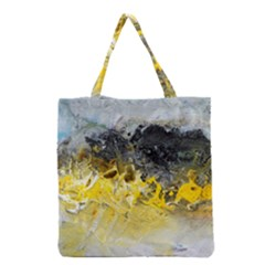 Bright Yellow Abstract Grocery Tote Bags
