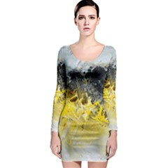 Bright Yellow Abstract Long Sleeve Bodycon Dresses