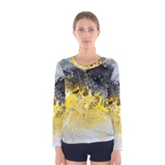 Bright Yellow Abstract Women s Long Sleeve T Shirts