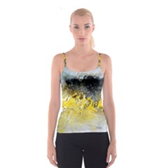 Bright Yellow Abstract Spaghetti Strap Tops
