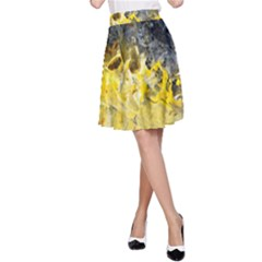 Bright Yellow Abstract A-Line Skirts