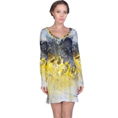 Bright Yellow Abstract Long Sleeve Nightdresses