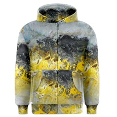 Bright Yellow Abstract Men s Zipper Hoodies