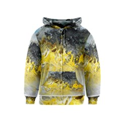 Bright Yellow Abstract Kids Zipper Hoodies