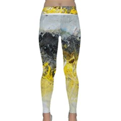 Bright Yellow Abstract Yoga Leggings