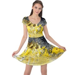 Bright Yellow Abstract Cap Sleeve Dresses