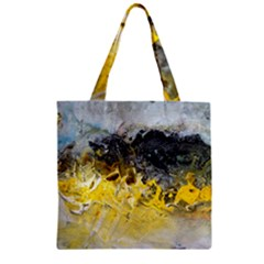 Bright Yellow Abstract Zipper Grocery Tote Bags