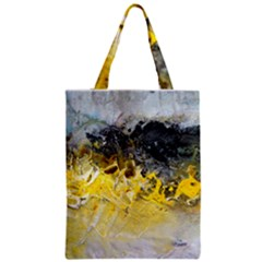 Bright Yellow Abstract Zipper Classic Tote Bags