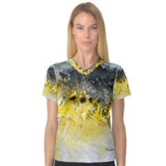 Bright Yellow Abstract Women s V-Neck Sport Mesh Tee