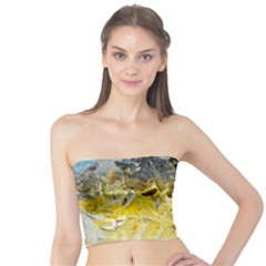 Bright Yellow Abstract Women s Tube Tops